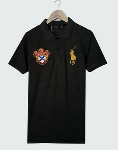"POLO RALPH LAUREN EMBROIDERED SLIM FIT LION POLO SHIRT ""CHARCOAL"""