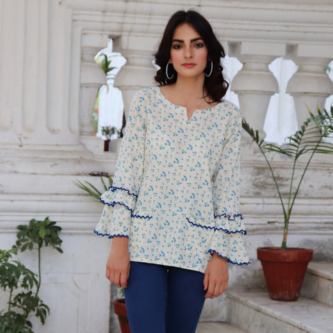 HIMAD WOMEN FLORAL DEPICT TOP
