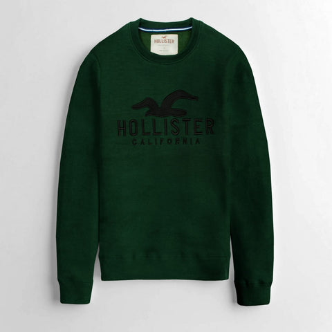 "HOLISTER PREMIUM EMBROIDERED SWEATSHIRT ""OLIVE GREEN"""