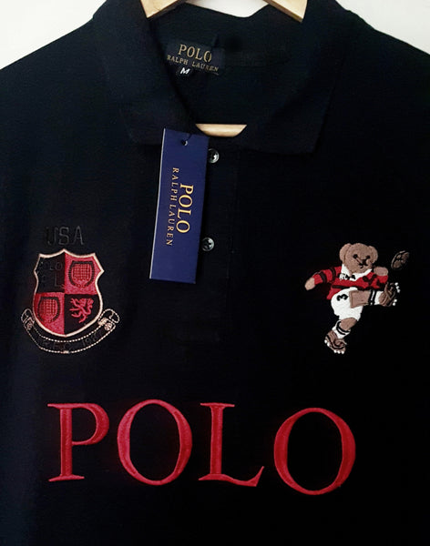 "POLO RALPH LAUREN EMBROIDERED BEAR SLIM FIT POLO SHIRT ""NAVY"""