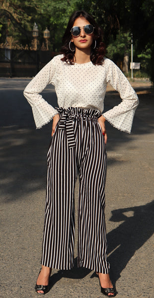 HIMAD WOMEN MONOCHROME UNIQLO BELTED PANTS
