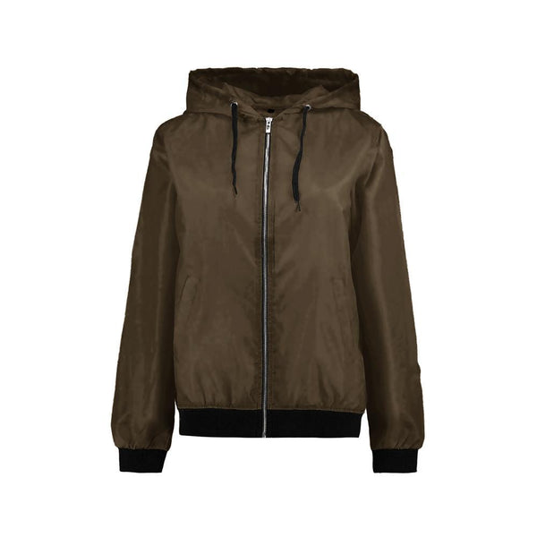 "WOMEN WIND BREAKER HOODED JACKET ""OLIVE"""