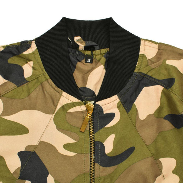 WOMEN ARMY CAMOUFLAGE BOMBER JACKET SKU-1012