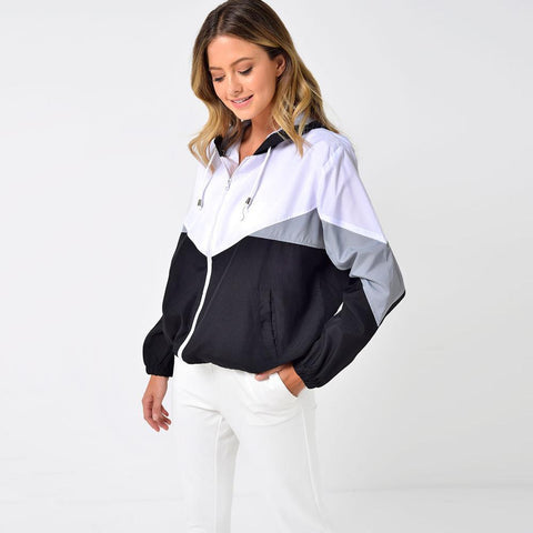 "RISING WOMEN LIGHT WEIGHT HOODED JACKET ""WHITE/BLACK"""