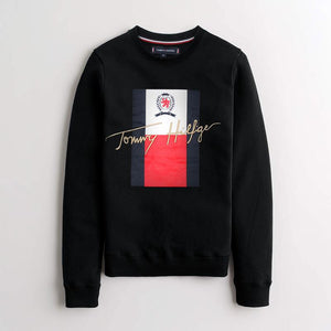 "TOMMY HILFIGER EMBROIDERED LOGO FLEECE SWEATSHIRT ""BLACK"""