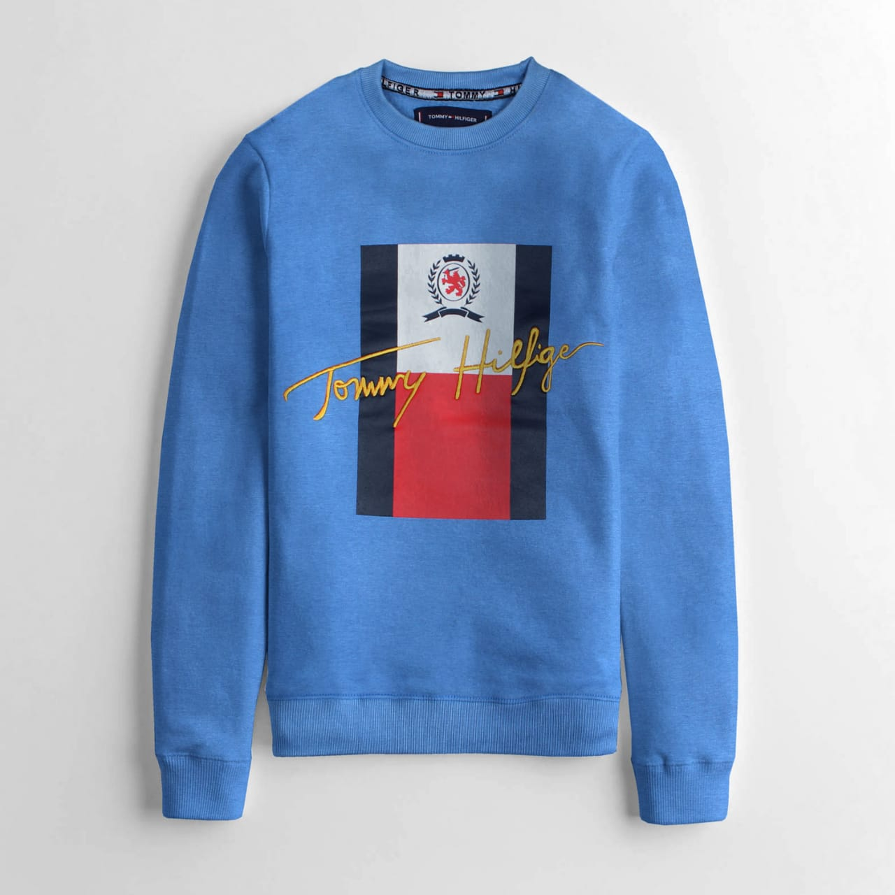 "TOMMY HILFIGER EMBROIDERED LOGO FLEECE SWEATSHIRT ""BLUE"""