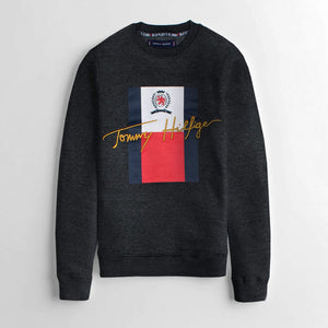 "TOMMY HILFIGER EMBROIDERED LOGO FLEECE SWEATSHIRT ""CHARCOAL"""