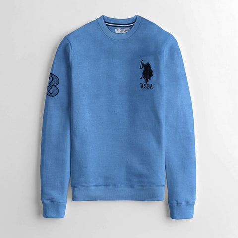 "US POLO EMBROIDERED LOGO FLEECE SWEATSHIRT ""BLUE"""