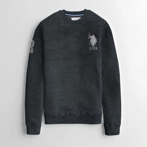 "US POLO EMBROIDERED LOGO FLEECE SWEATSHIRT ""CHARCOAL"""