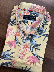 "Zara Man Floral Printed Casual Shirt ""Yellow""  SKU-2002"