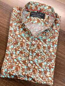 "Zara Man Floral Printed Casual Shirt ""Brown"" SKU-2005"