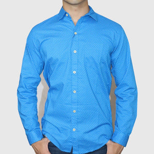 Zara Man Premium Slim Fit Blue Printed Casual Shirt For Men