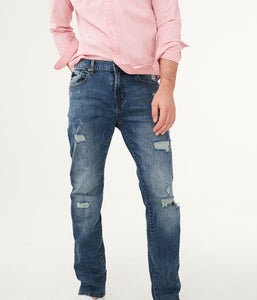 "AEROPOSTALE SLIM FIT DESTROYED DENIM ""GREENISH BLUE"""