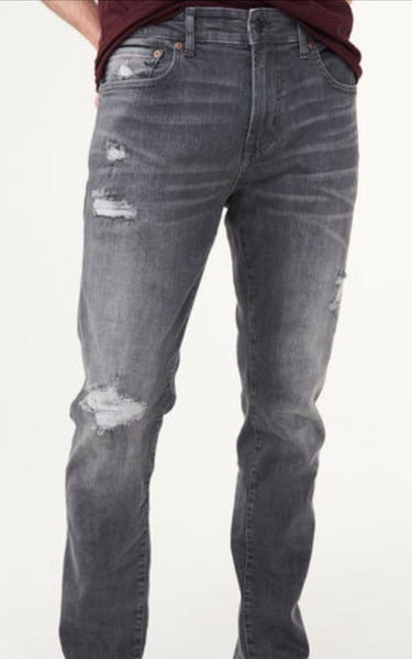 "AEROPOSTALE SLIM FIT DESTROYED DENIM ""GREY"""