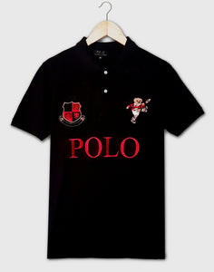 "POLO RALPH LAUREN EMBROIDERED BEAR SLIM FIT POLO SHIRT ""BLACK"""