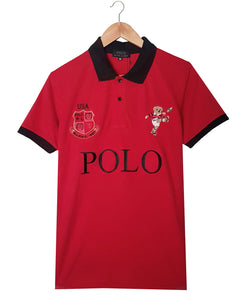 "POLO RALPH LAUREN EMBROIDERED BEAR SLIM FIT POLO SHIRT ""RED"""