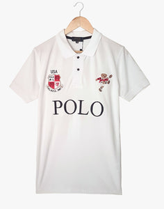 "POLO RALPH LAUREN EMBROIDERED BEAR SLIM FIT POLO SHIRT ""WHITE"""