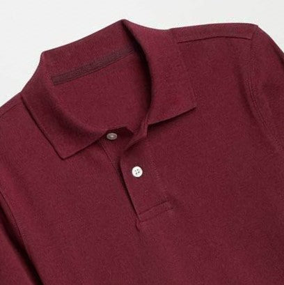 GAP BOYS SUMMER LONG SLEEVE PIQUE POLO SHIRT (BURGUNDY)