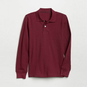GAP BOYS SOLID LONG SLEEVE PIQUE POLO SHIRT (BURGUNDY)