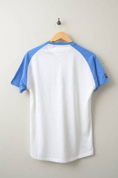 "DIESEL CONTRAST PANEL T SHIRT ""WHITE/BLUE"""