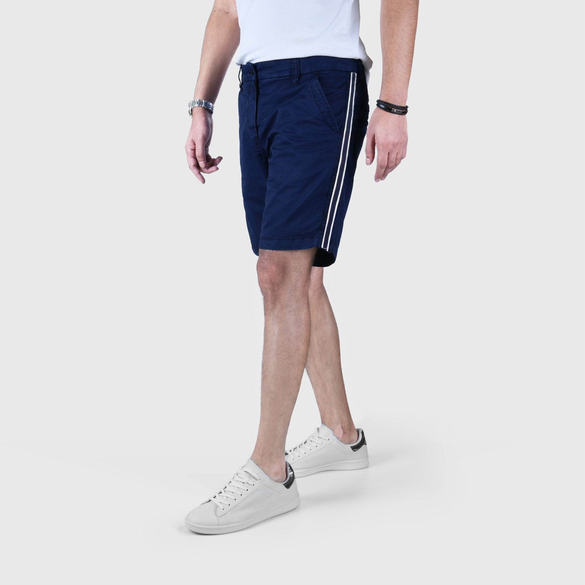 "ANGELO LITRICO SIDE STRIPS COTTON CHINO SHORTS ""SKU-1002-NAVY"""