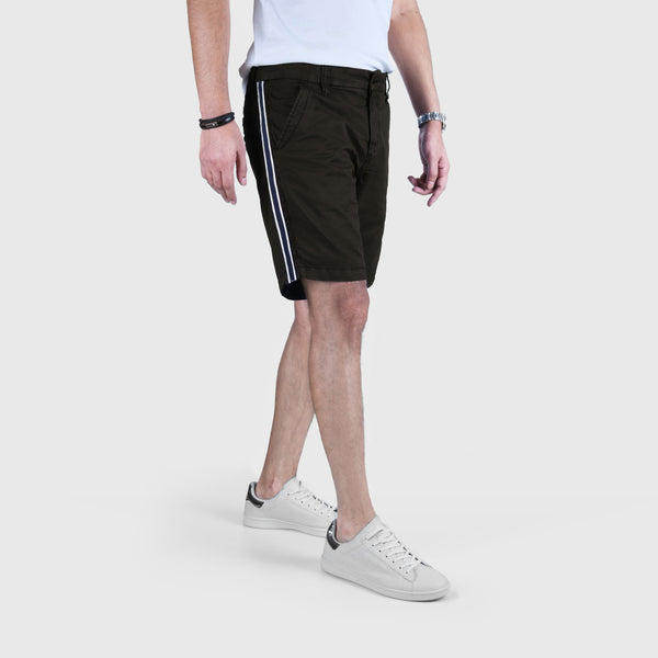 "ANGELO LITRICO SIDE STRIPS COTTON CHINO SHORTS ""SKU-1002-OLIVE"""