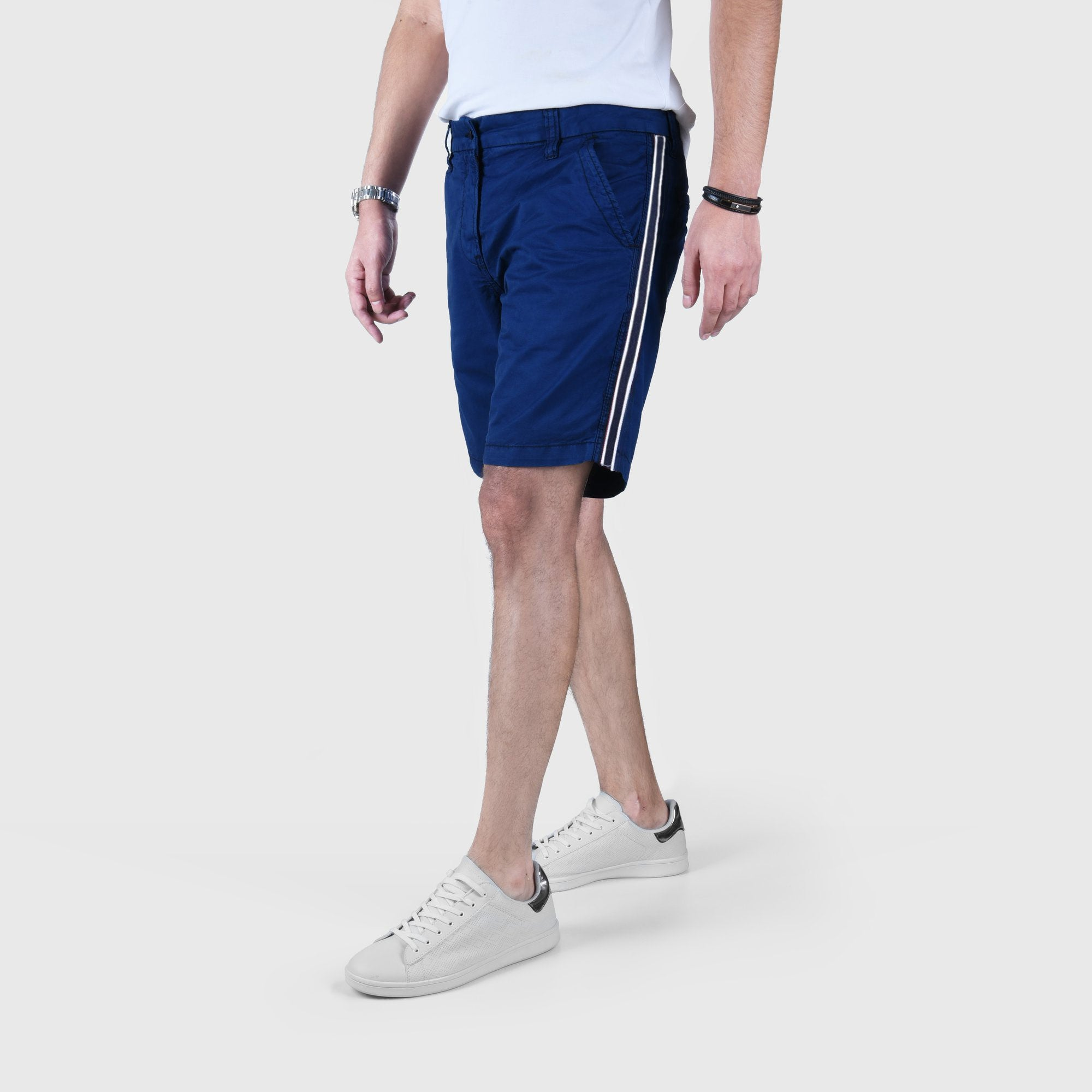 "ANGELO LITRICO SIDE STRIPS COTTON CHINO SHORTS ""SKU-1002-ROYAL BLUE"""