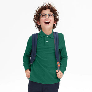 GAP BOYS SUMMER LONG SLEEVE PIQUE POLO SHIRT (GREEN)