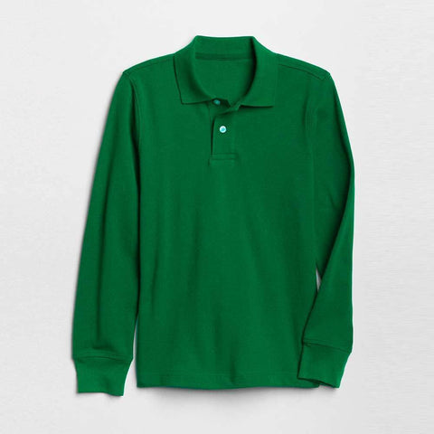 GAP BOYS SOLID LONG SLEEVE PIQUE POLO SHIRT (GREEN)