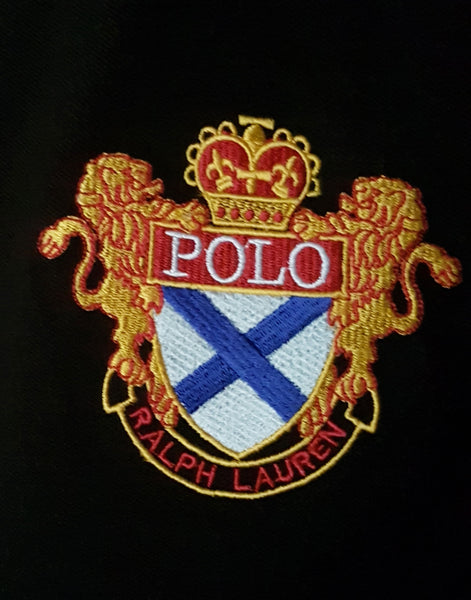 "POLO RALPH LAUREN EMBROIDERED SLIM FIT LION POLO SHIRT ""BLACK"""