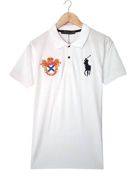 "POLO RALPH LAUREN EMBROIDERED SLIM FIT LION POLO SHIRT ""WHITE"""