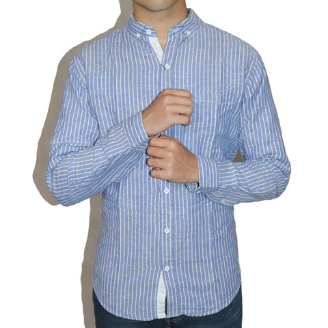 "MASSIMO DUTTI BLUE SHIRT WITH LINES ""IRISH COTTON"""