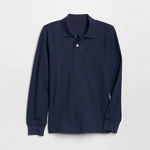 GAP BOYS SOLID LONG SLEEVE PIQUE POLO SHIRT (NAVY)