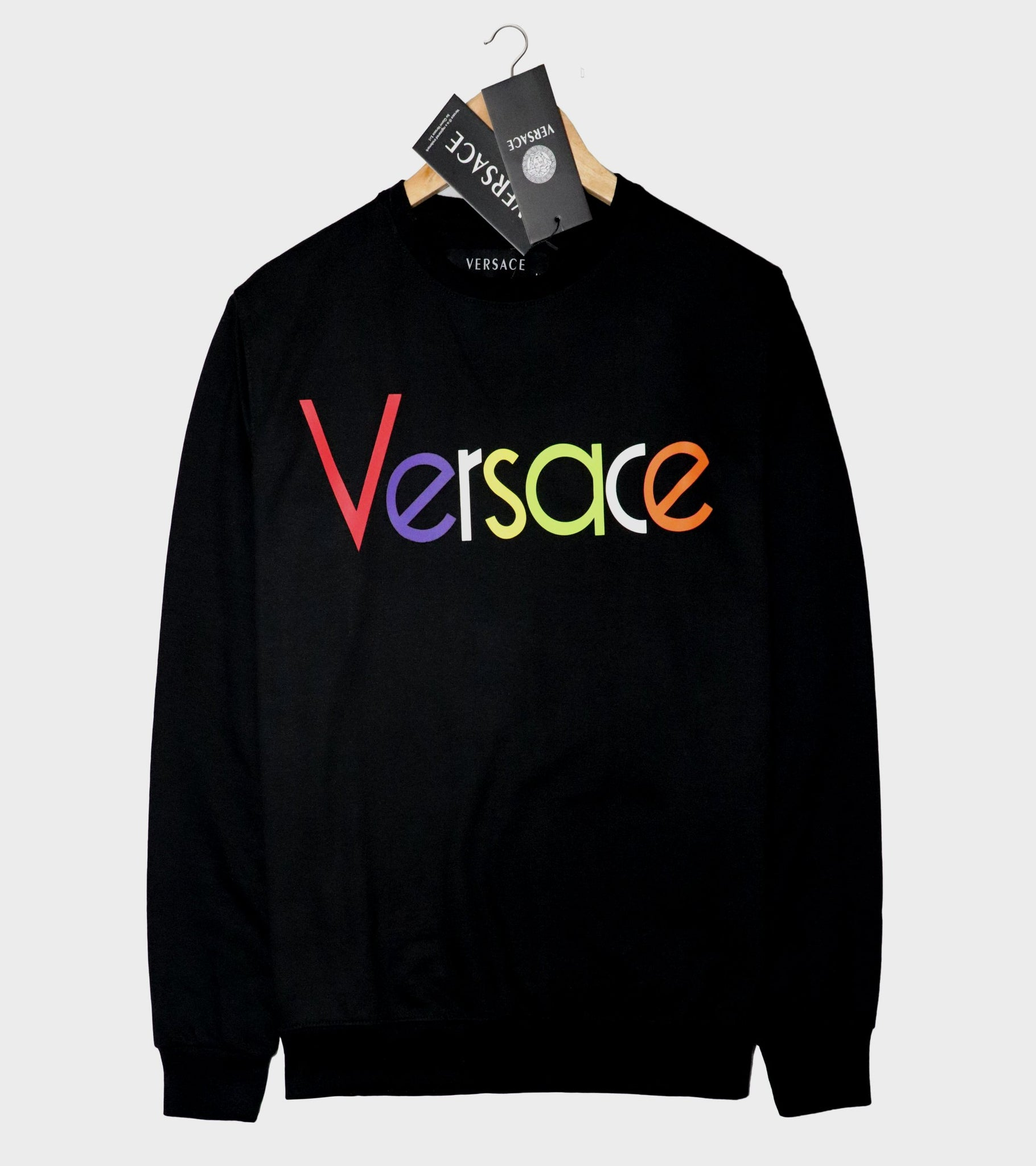 "VERSACE LIGHT TERRY HD PRINTED SWEATSHIRT ""BLACK"""