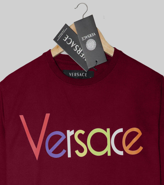 "VERSACE LIGHT TERRY HD PRINTED SWEATSHIRT ""MAROON"""