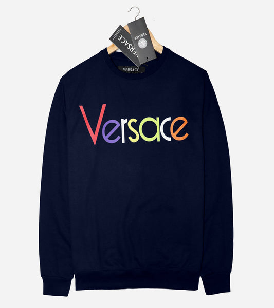 "VERSACE LIGHT TERRY HD PRINTED SWEATSHIRT ""NAVY"""