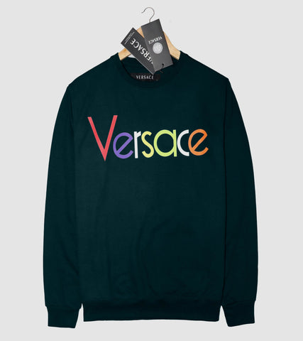"VERSACE LIGHT TERRY HD PRINTED SWEATSHIRT ""OLIVE"""