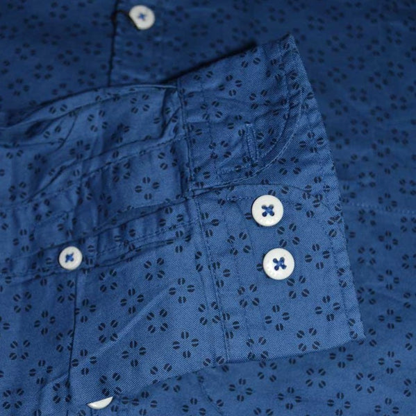 Zara Man Premium Slim Fit Dark Blue Printed Casual Shirt For Men