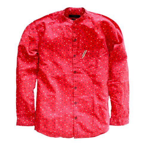 "ZARA MAN PREMIUM SLIM FIT PRINTED SHIRT ""RED"""