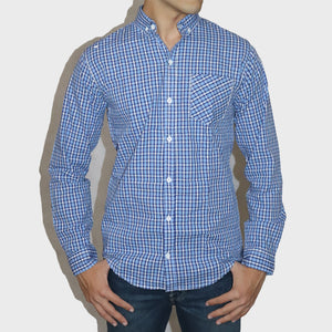 ZARA MAN PREMIUM SLIM FIT LIGHT BLUE CHECK SHIRT