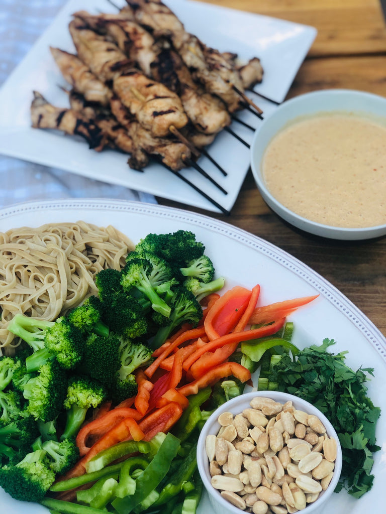 Summer Menu: Soba Noodle Salad with Chicken Skewers and Peanut Sauce