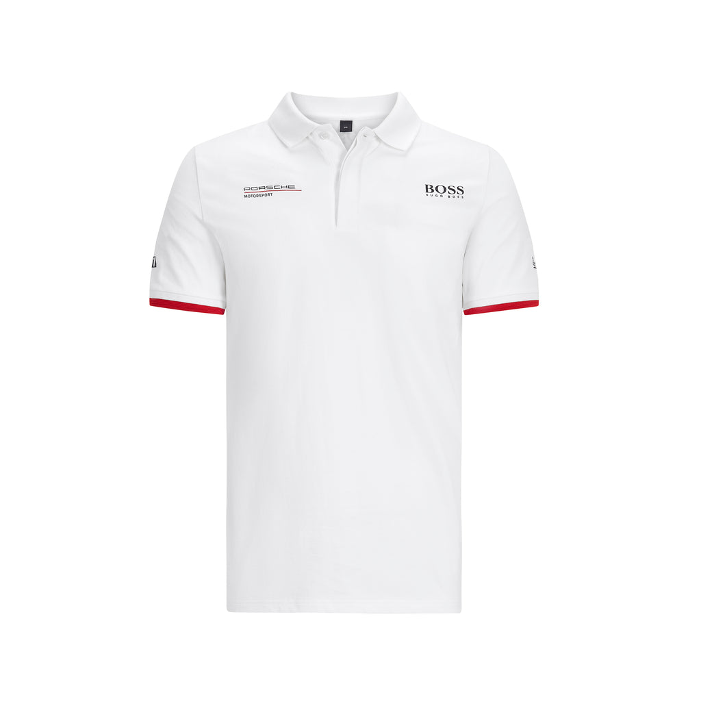 Porsche Motorsport Official Team Merchandise Polo Shirt  - White - with Free Motorsport Kit - Pit-Lane Motorsport