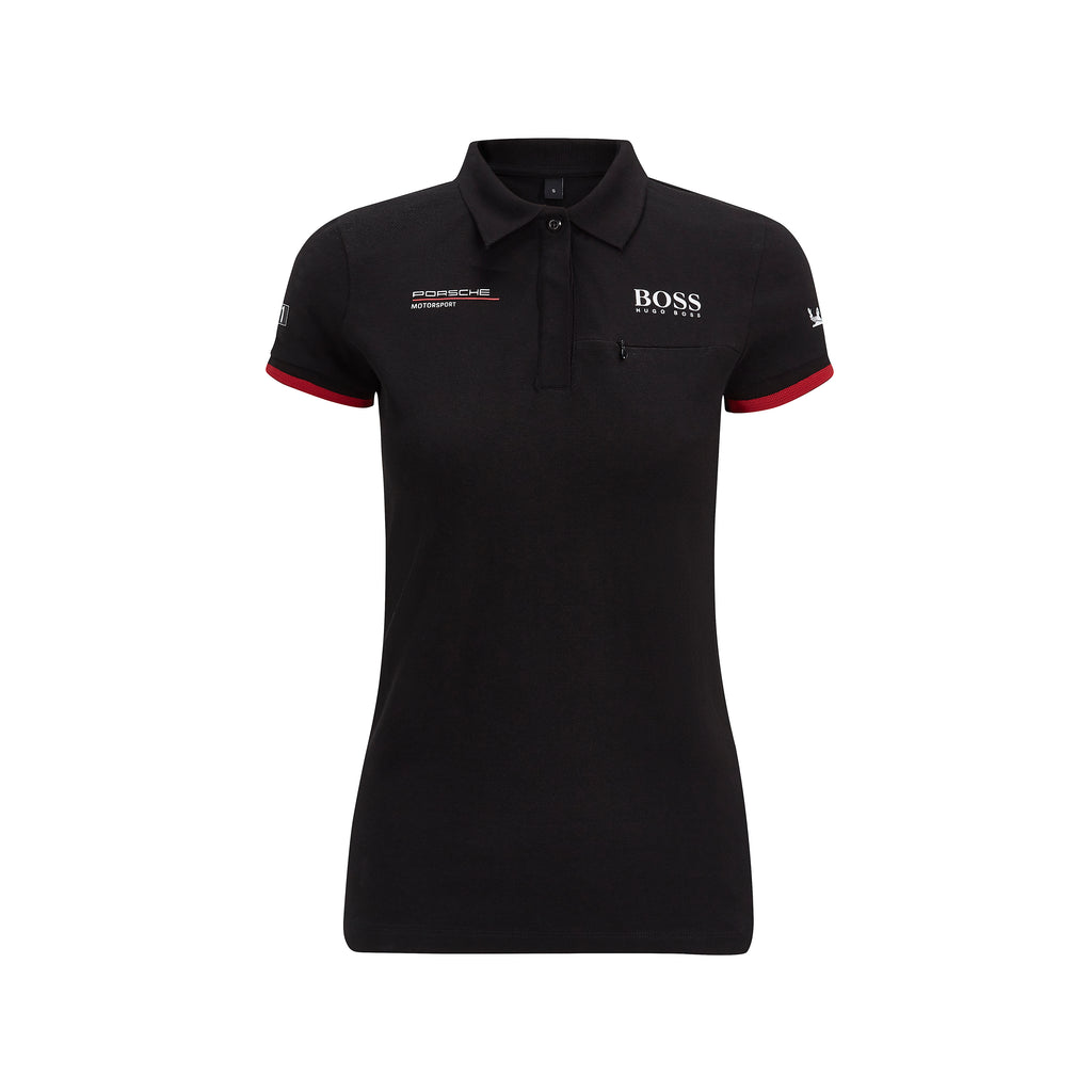Womens Porsche Motorsport  Team Polo Shirt  - Black - with Free Motorsport Kit - Pit-Lane Motorsport