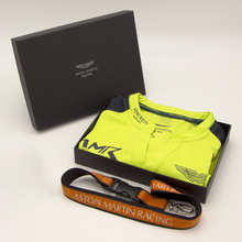 Load image into Gallery viewer, Aston Martin Racing AMR Lime Green Team Polo gift box set with Orange lanyard - Pit-Lane Motorsport
