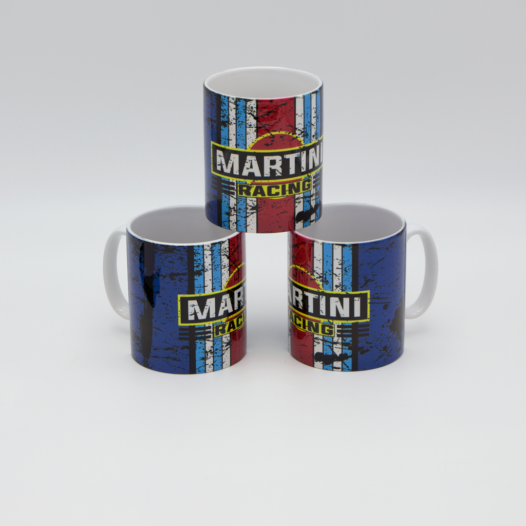 Martini Racing inspired Retro/ Vintage Distressed Look Oil Can Mug - 10z - Pit-Lane Motorsport