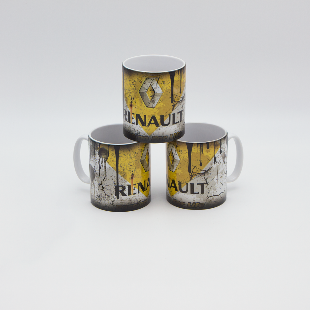 Renault inspired Retro/ Vintage Distressed Look Oil Can Mug - 10oz - Pit-Lane Motorsport