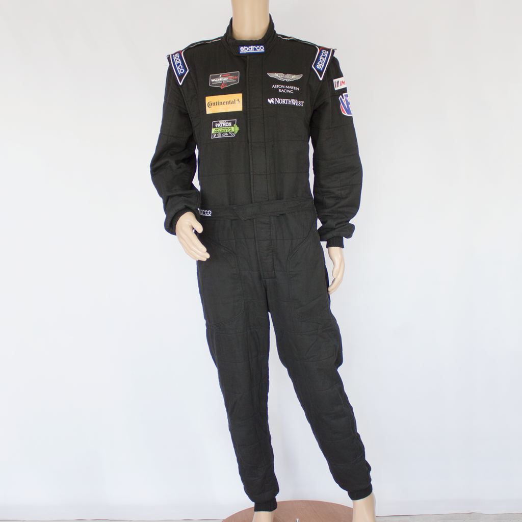 Used - Aston Martin Racing Sparco IMSA Black Race Suit Size 60 - 2015 - Pit-Lane Motorsport