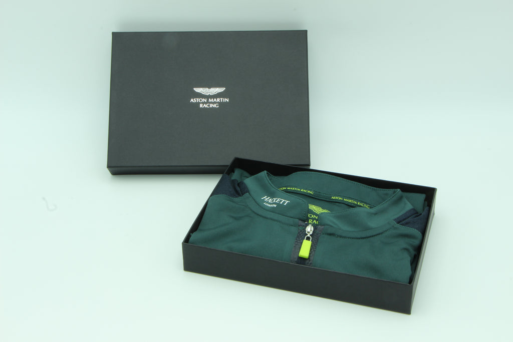 Aston Martin Racing AMR Dark Green Team Polo in an official gift box. - Pit-Lane Motorsport