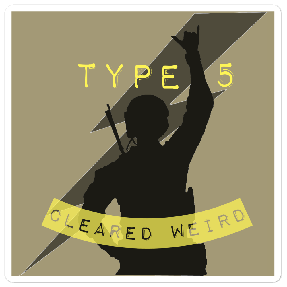 Type 5 Cleared Weird Vinyl Sticker, Army Tan