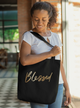 Blessed in Gold Black Tote bag